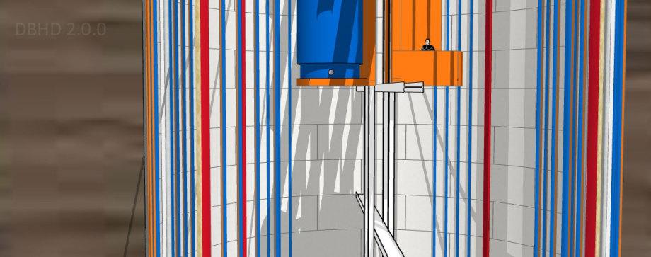 >>> Geologie riesig, Schacht schlank, Menschen auf geführten Aufzugs Plattformen - Transporte - Aufwind - Staub - Orientierung - Rettungswege - #DBHD #HochhausbauVerordnung #TiefstbauVerordnung #Schachtbau #Sonderfall