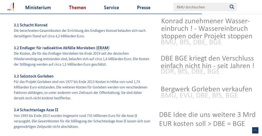 Die Katastrophale DBE / BGE Bilanz - immer mit BMU Segen !!!
