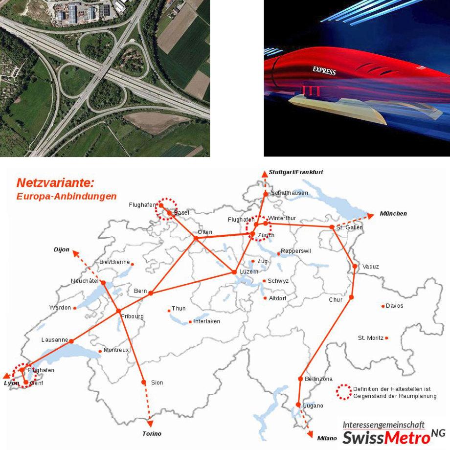 Kurz-Beschreib Swiss-Metro Magnet-Schwebebahn - wie Transrapid - aber in einem Tunnel