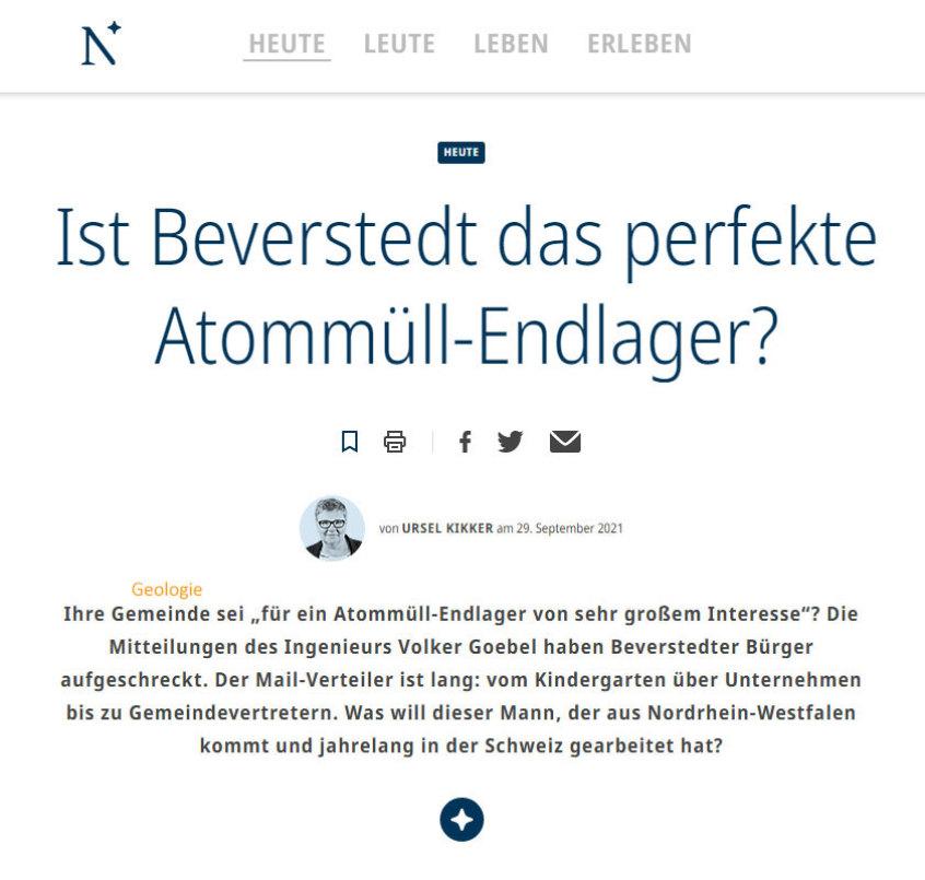 Titel Artikel Kikker Nordsee-Zeitung zu Geologie bei Beverstedt für DBHD Endlager von Ing. Goebel