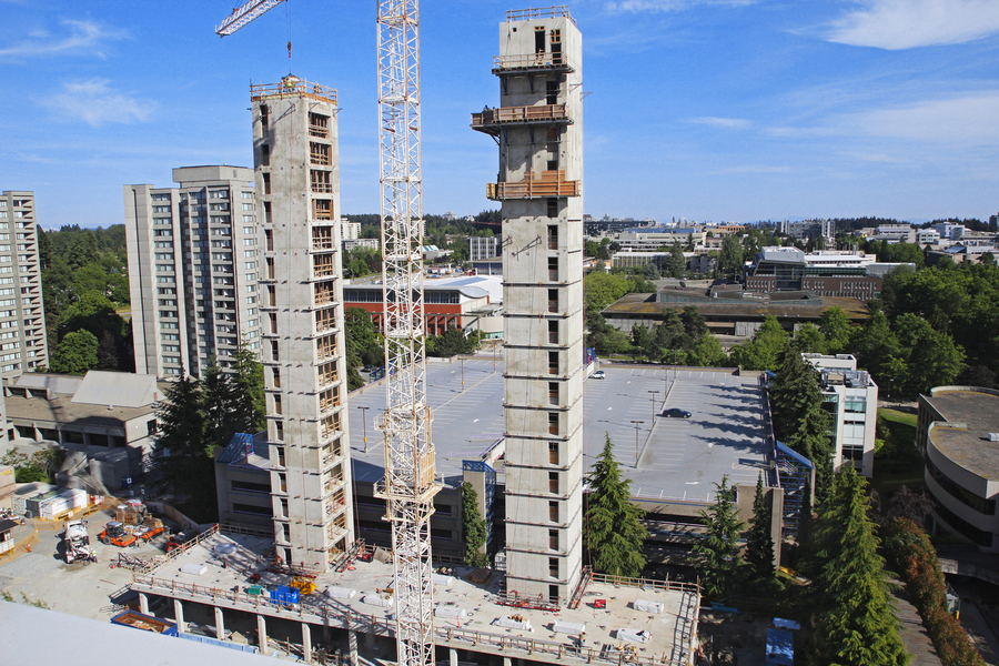 Multi-storey wood construction with 18 floors - student residence in Vancouver Canada - saves a lot of concrete