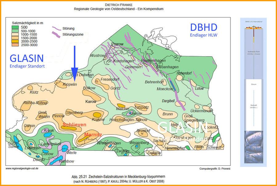 geologische Karte mit HLW Endlager Standorten Deutschland DBHD bei Glasin