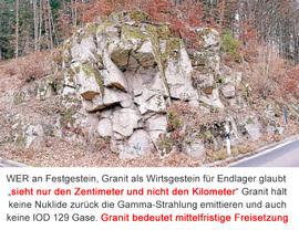 Granit - Festgestein - Kristallin - immer klüftig - niemals gas-dicht verschliessbar