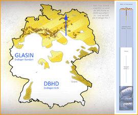>>> Standort DBHD Endlager DE in einer geologischen Karte der Wirts-Gesteine - Deutschland untersucht Tonstein und Granit aber nur, um die Nachbarn besser zu verstehen - #DBHD #inRocksalt #Layer #beiGlasin