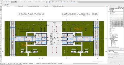 Draufsicht Castor Blei Verguss Halle mit Kuka Titan Roboter under remote control