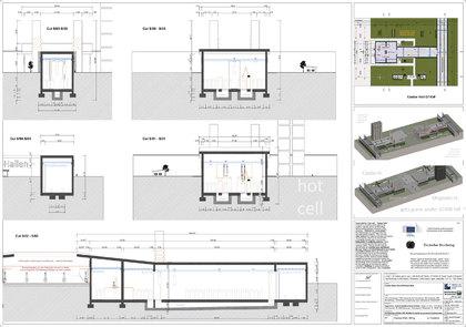 Schnitte Bahnhof und Halle für Castor Blei-Verguss - etwas eingegraben - Dicke Wände - schwer angreifbar
