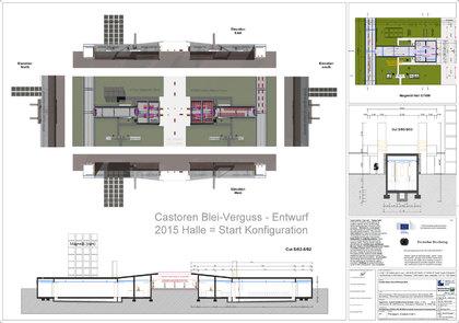 Draufsicht und Schnitt der Planung für den Blei Verguss der Castoren für das DBHD Endlager