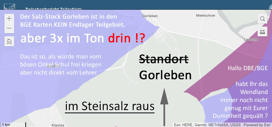 >>> Gorleben in den super dämlichen BGE Karten. - Gorleben im Steinsalz raus - aber dafür 3x im Tonstein drin - Ein Verlust an möglicher Sicherheit - die BGE ist schwachsinnig - #BGE #Schwachsinn #Gorleben - https://lnkd.in/dA32aG3
