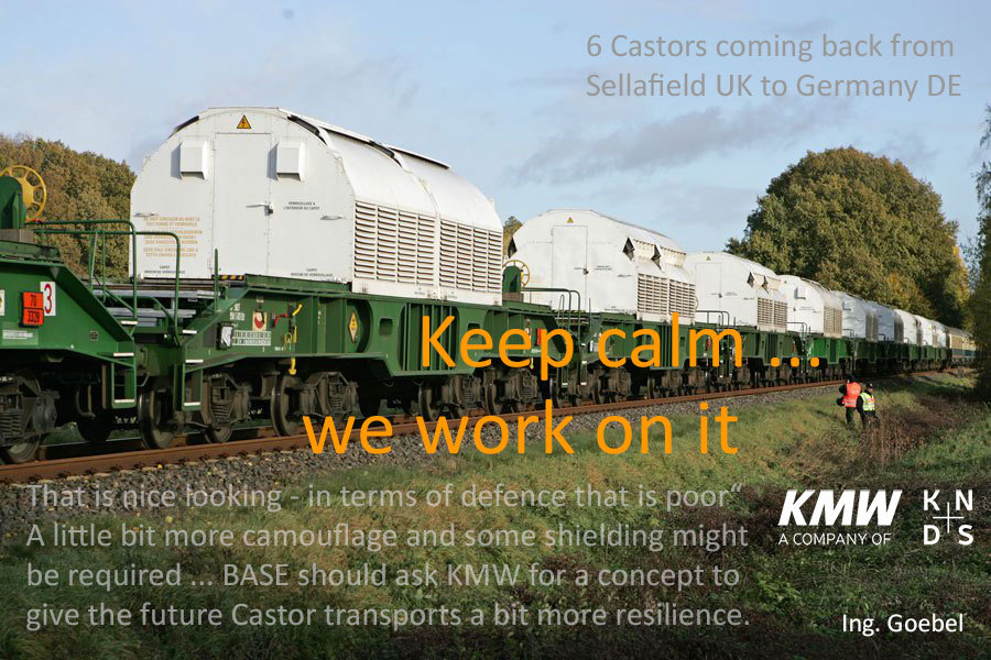 auch beim Bahn Transport sind die 70 ger Jahre vorbei - BASE bittet KWM um ein Schutz-Konzept gegen handelsübliche Bazookas die nicht von Herrn Scholz kommen - Bitte