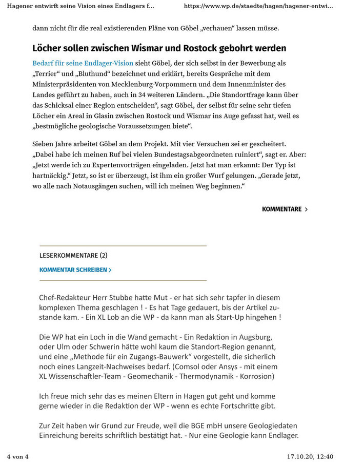 >>> Die Zeitung Westfalenpost macht einen ersten Artikel zum DBHD Endlager Planungs Vorschlag von Ing. Goebel - #Endlager #Planung #DBHD #IngGoebel #Westfalenpost
