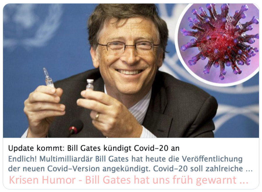 That is a joke - Bill addressed the virus theme years ago on a TED conference already - but no one did react