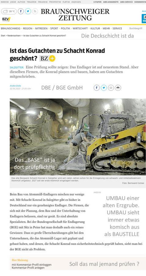BGE lässt Konrad durch Zuliefer-Baufirmen prüfen ? Üsiko TÜV