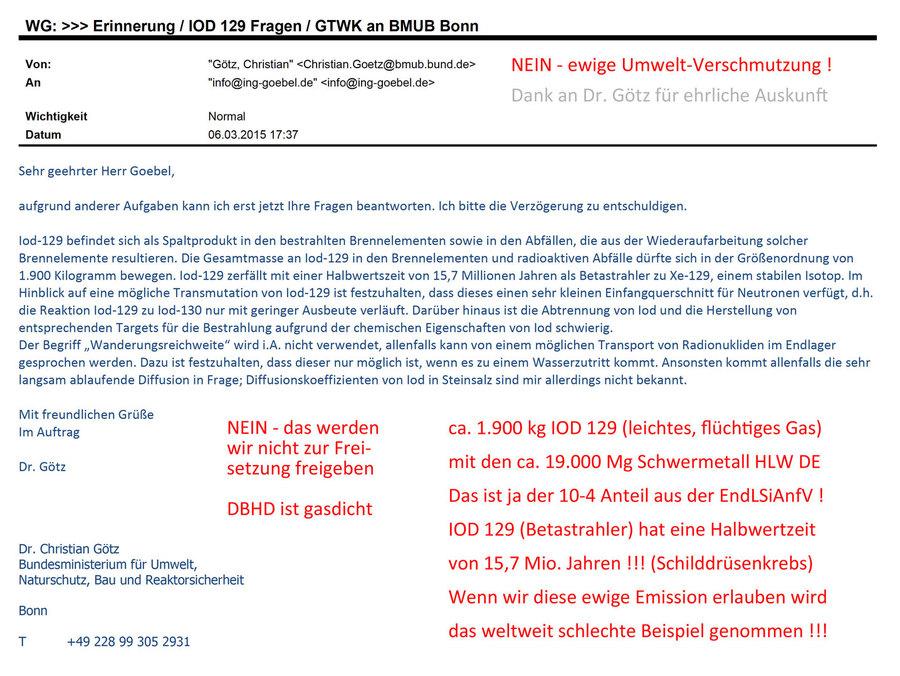 Anteil IOD 129 im Deutschen Atommüll - Keine Freisetzung erlauben