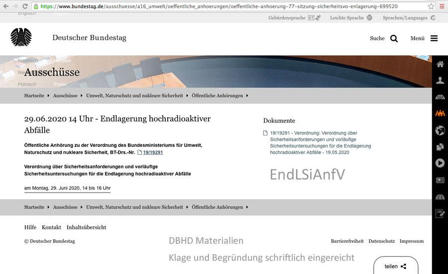 Termin Umwelt-Ausschuss Bundestag EndLSiAnfV 29.06.2020
