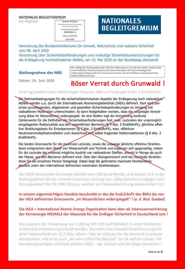 >>> Die Grenzwerte der IAEA können NIEMALS der Massstab für Endlager-Sicherheit in Deutschland sein - die IAEA vertritt nur die Interessen der Kernenergie. #Verrat #Grunwald #NBG #EndLSiAnfV #IOD129 #IAEA