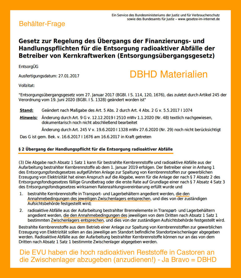 """>>> The nuclear energy companies have to """"hand over"""" all HLW in Castor Containers by law - with 2.047 Castors - each app. 2,1 Mio. € = 4,3 Mrd. €  #Castors #Container #DBHD #GDF #Nuclearrepository #Germany"""