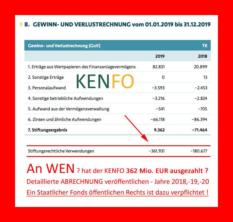 >>> Der staatliche 24 Mrd. EUR Fonds KENFO verweigert die Auskunft über die Verwendung der Fonds Gelder - Bundesfinanzministerium, Bundesrechungshof, Bund der Steuerzahler informiert #KENFO #Strafanzeige