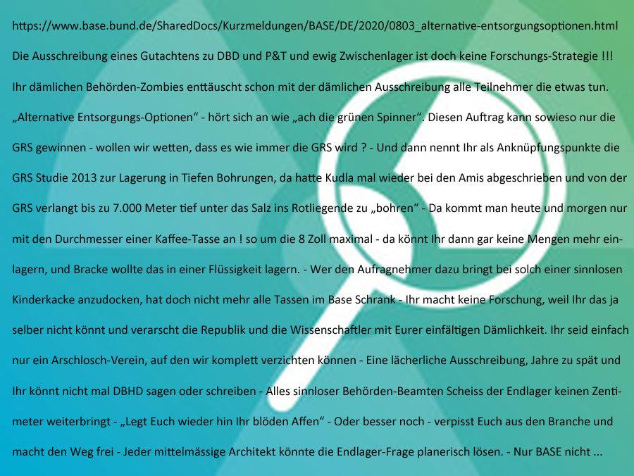 >>> Das BASE Berlin ist ohne jede Forschungs-Strategie - die Dummheit der Behörden-Beamten ist nicht mehr zu steigern - ist alles völlig sinnlos #BASE #Sinnlos - Forschungs-Ausschreibung ? - https://lnkd.in/drMPjGu