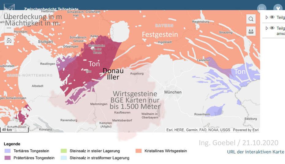 >>> Süd-Deutschland in der BGE mbH Karte mit Wirtsgesteinen für Endlager. - #Süddeutschland #Endlager #Geologie #Karten #DonauIller #IngGoebel #Fleischbeschau - Achtung alle Geologien liegen zu hoch max. 1.500 Meter