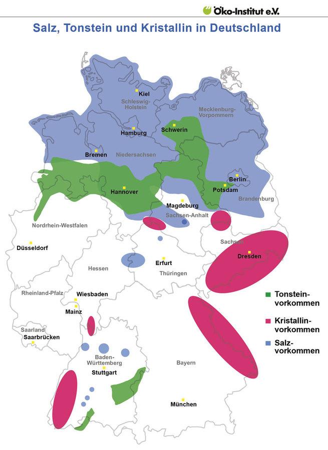 Karte der möglichen und unmöglichen Wirtsgesteine DE ohne Standort-Information zum Endlager Standort