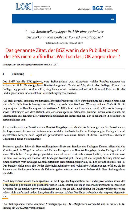 Wer hat das LOK angeordnet - ESK und BGZ verweisen auf ? Dr. Cloosters BMU ?