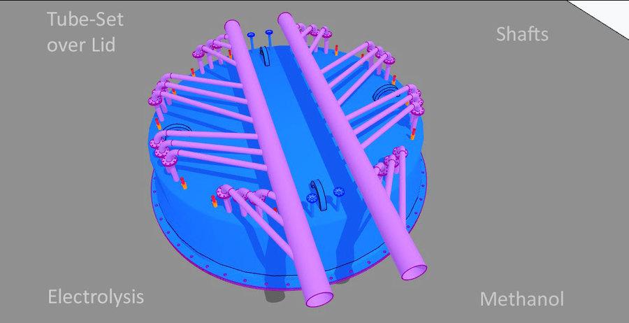 >>> Zusammenfassung der Rohre aus dem Kreis in eine Linie unter Beachtung 90 ° Anschlüsse zu vermeiden - TubeSet over Lid - #Tubes #Electrolysis #Methanol