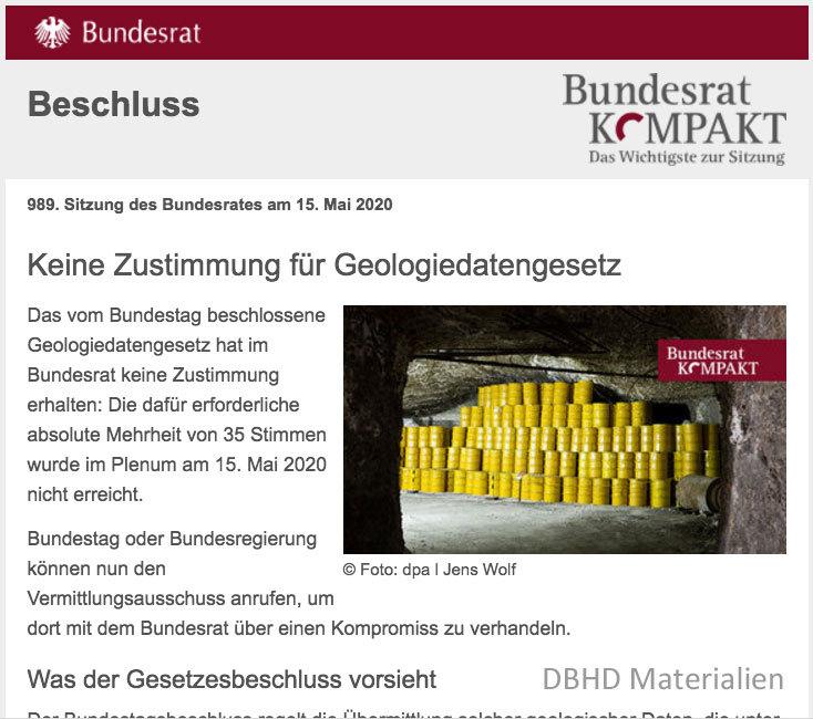 >>> Geodaten-Gesetz nun im Vermittlungs-Ausschuss