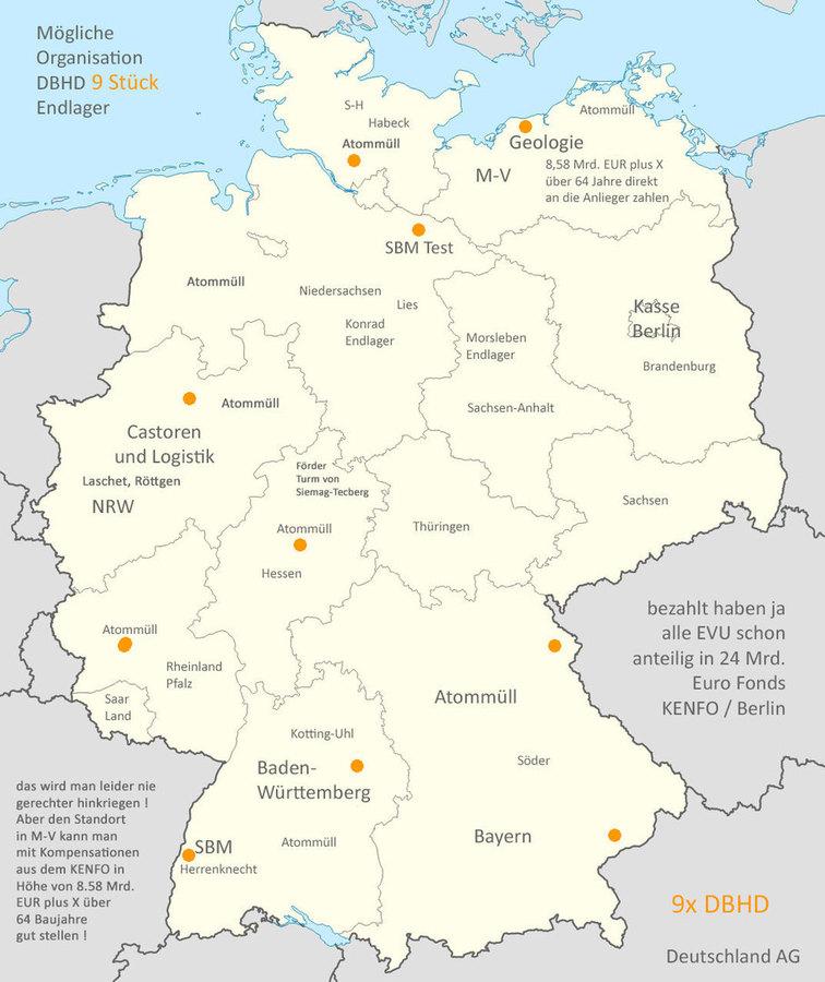 Weil die Bundesland-Grenzen in den BGE Karten sind - und weil auch die Müll-Mengen der Länder  bekannt sind bin ich auf die Idee gekommen das jedes Land mit seiner Geologie leben muss. - So  eine Regelung kann der Bundestag auch beschiessen. - DBHD hat ja