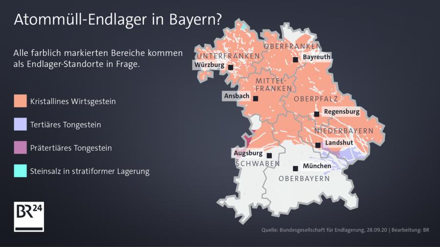 >>> Karte Bayern Teilgebiete BGE Endlager-Suche-Verfahren - irgendwie auch lächerlich - Wer will schon Granit bohren ? - Wie soll man das jemals richtig verschliessen ? - #BGE #Teilgebiete #Lächerlich #typisch #BGE #völligdaneben      https://www.br.d