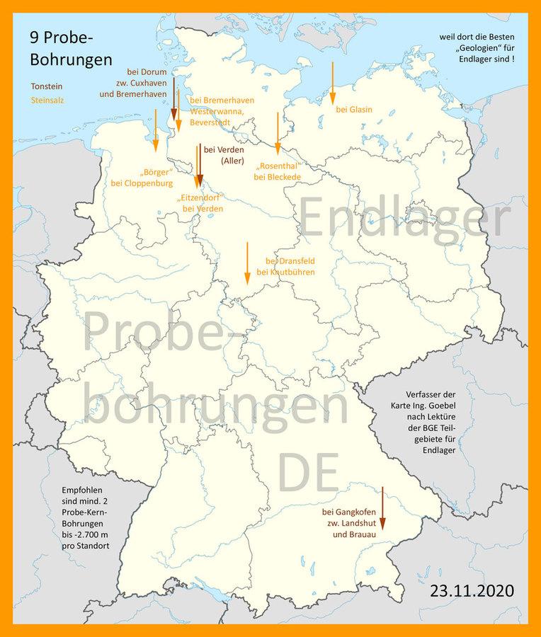>>> Probe-Bohrungen-Karte DE Endlager-Standort-Teilgebiete_BGE_Ing_Goebel >>> map for probe drillings Germany based on BGE geology search - #Probe #Drillings #Germany #GDF #Rocksalt #Claystone - https://lnkd.in/eBkZTgb