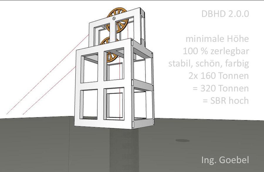 Förderturm 01 für DBHD 2.0.0 Endlager - zieht 2x 160 Tonnen SBR Bohrmaschine raus