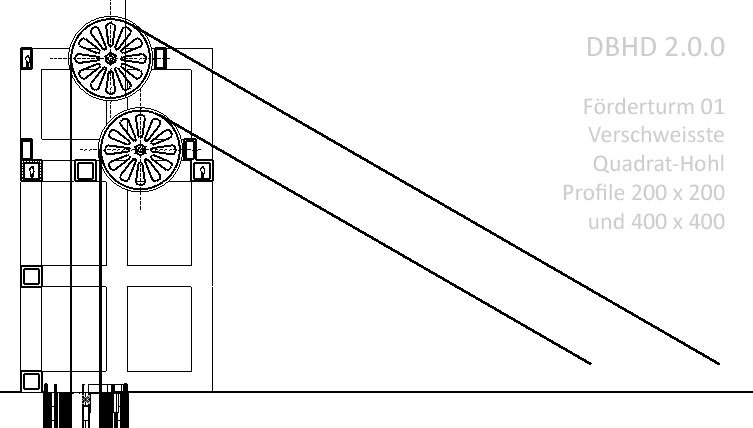 Schnitte Förderturm 01 für DBHD 2.0.0 Endlager - Gross-Träger aus kleinen Quadrat-Hohlprofilen hergestelltSchnitte Förderturm 01 für DBHD 2.0.0 Endlager - Gross-Träger aus kleinen Quadrat-Hohlprofilen hergestellt