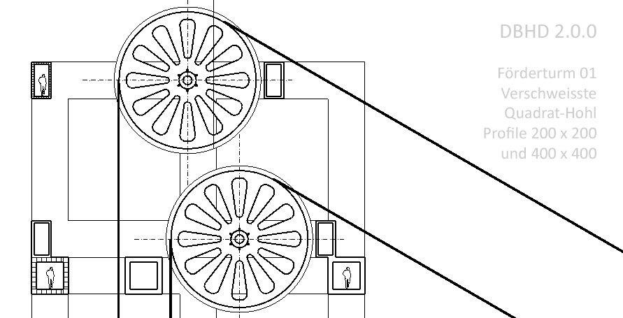 Schnitte Förderturm 01 für DBHD 2.0.0 Endlager - Gross-Träger aus kleinen Quadrat-Hohlprofilen hergestellt