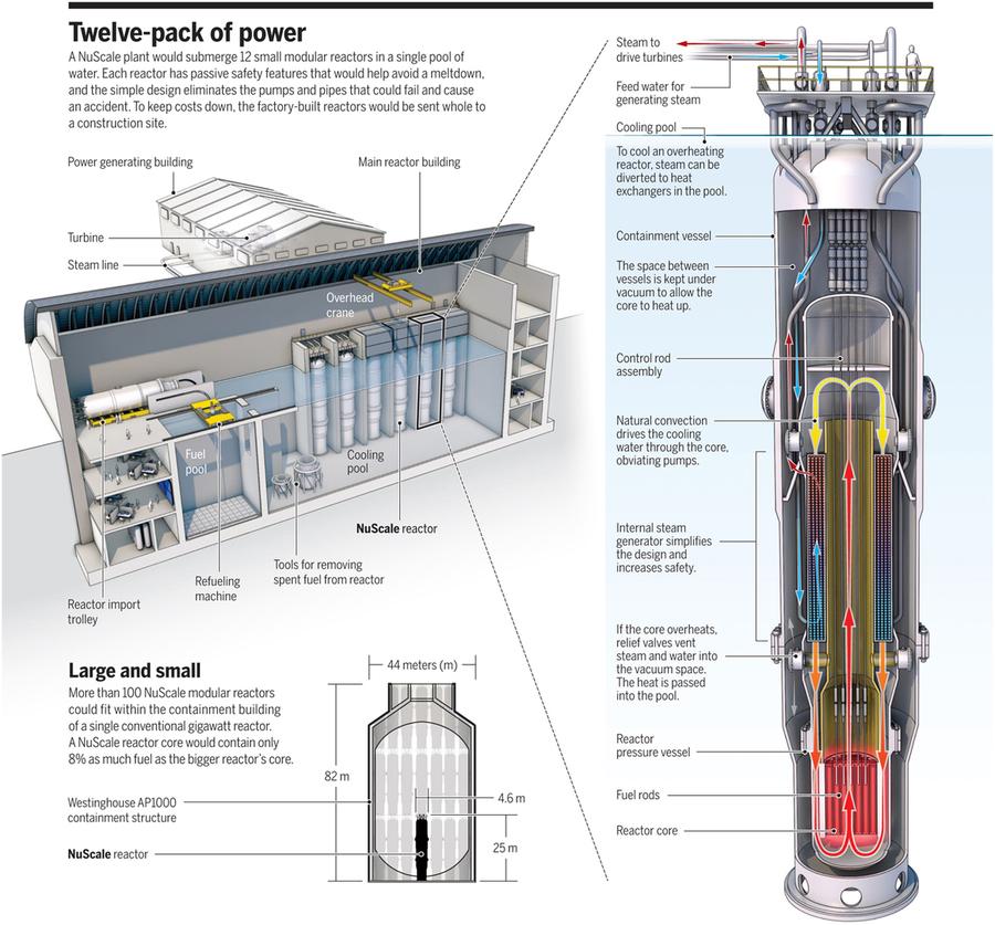 Prinzip-Skizzen zum NuScale Reaktor - aus einem Science Magazin